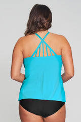 Drape Bandeau Women's Plus Size Tankini Top w/ Back Detail by Mazu Swim