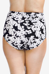 Ultra High Waist Printed Women's Plus Size Swimsuit Brief Bottom with Power Mesh Panel by Mazu Swim