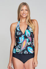 SCALLOP NECKLINE HALTER TANKINI IN RETRO PAISLEY BY MAZU SWIM