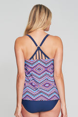 STRAPPY BACK DRAPE BANDEAU TANKINI IN DIAMOND TRIBE BY MAZU SWIM