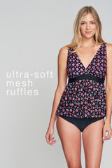 TRIPLE TIER MESH RUFFLE TANKINI IN MAYAN GEMS BY MAZU SWIM