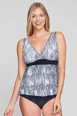 TRIPLE TIER MESH RUFFLE TANKINI IN SHIMMERING SNAKE BY MAZU SWIM