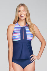 MESH KEYHOLE HIGH NECKLINE TANKINI IN PARASOL BY MAZU SWIM