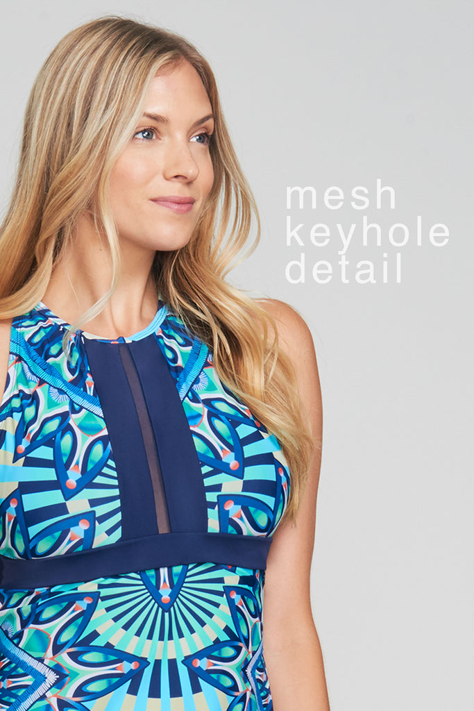 MESH KEYHOLE HIGH NECKLINE TANKINI IN SUNBURST BLUE BY MAZU SWIM
