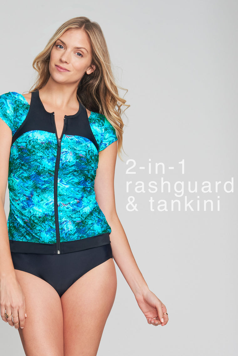 ZIP FRONT RASHGUARD TANKINI WITH BUILT IN BRA IN AMETHYST CRYSTAL BY MAZU SWIM