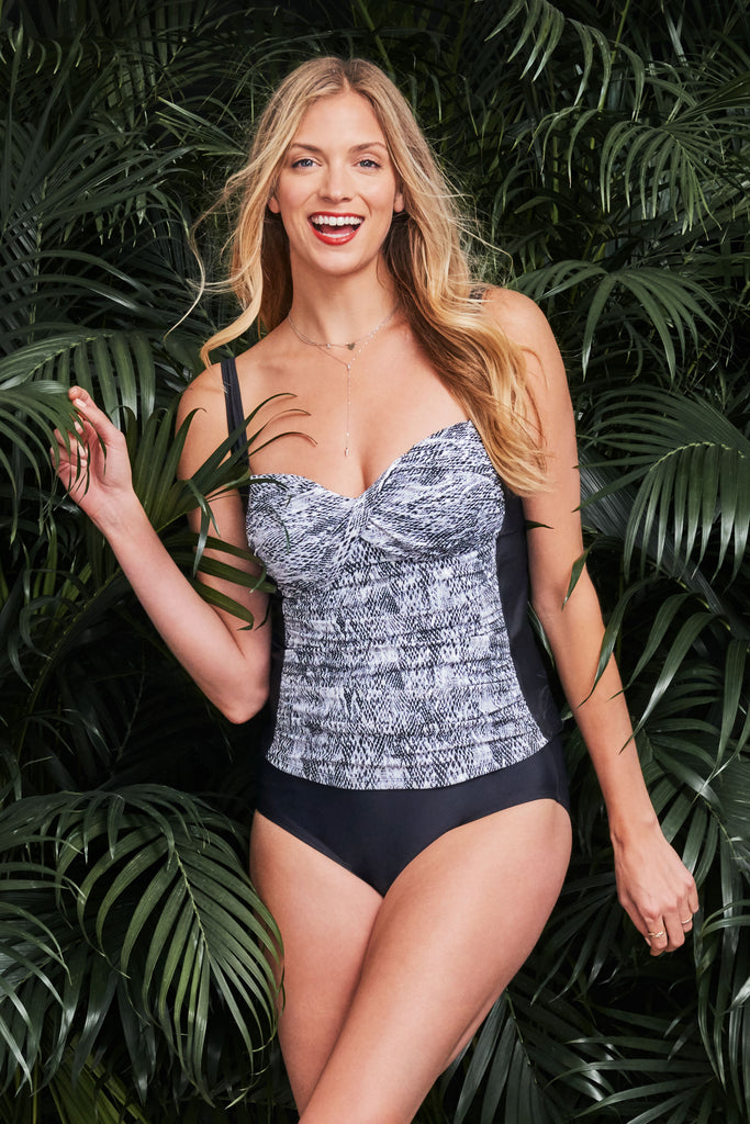 TWIST FRONT RUCHED TANKINI IN SHIMMERING SNAKE BY MAZU SWIM