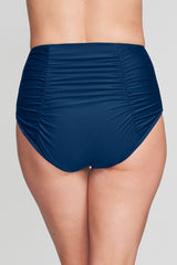 RUCHED RETRO HIGH WAIST BRIEF IN SOLID NAVY BY MAZU SWIM