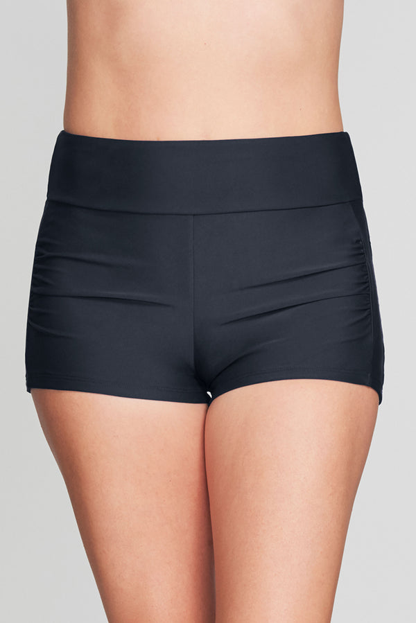 CONTOURING WAISTBAND SWIM SHORT IN SOLID BLACK BY MAZU SWIM