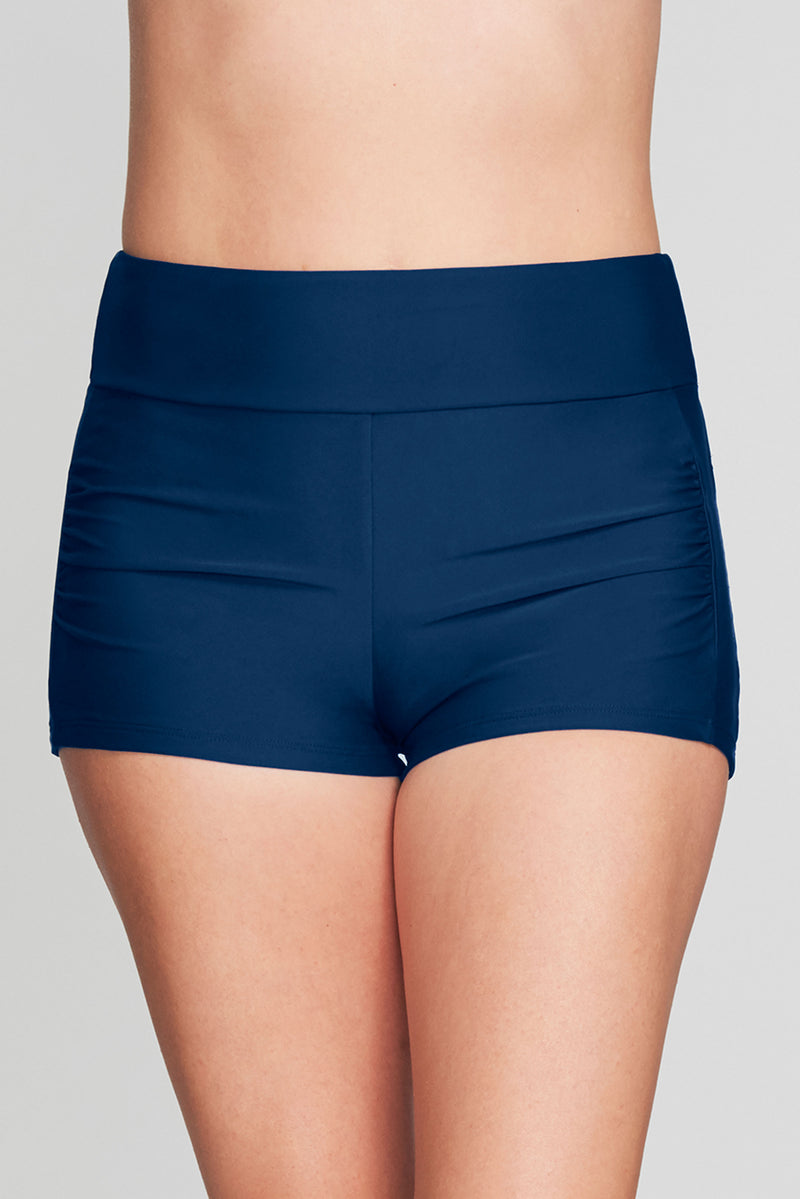 CONTOURING WAISTBAND SWIM SHORT IN SOLID NAVY BY MAZU SWIM