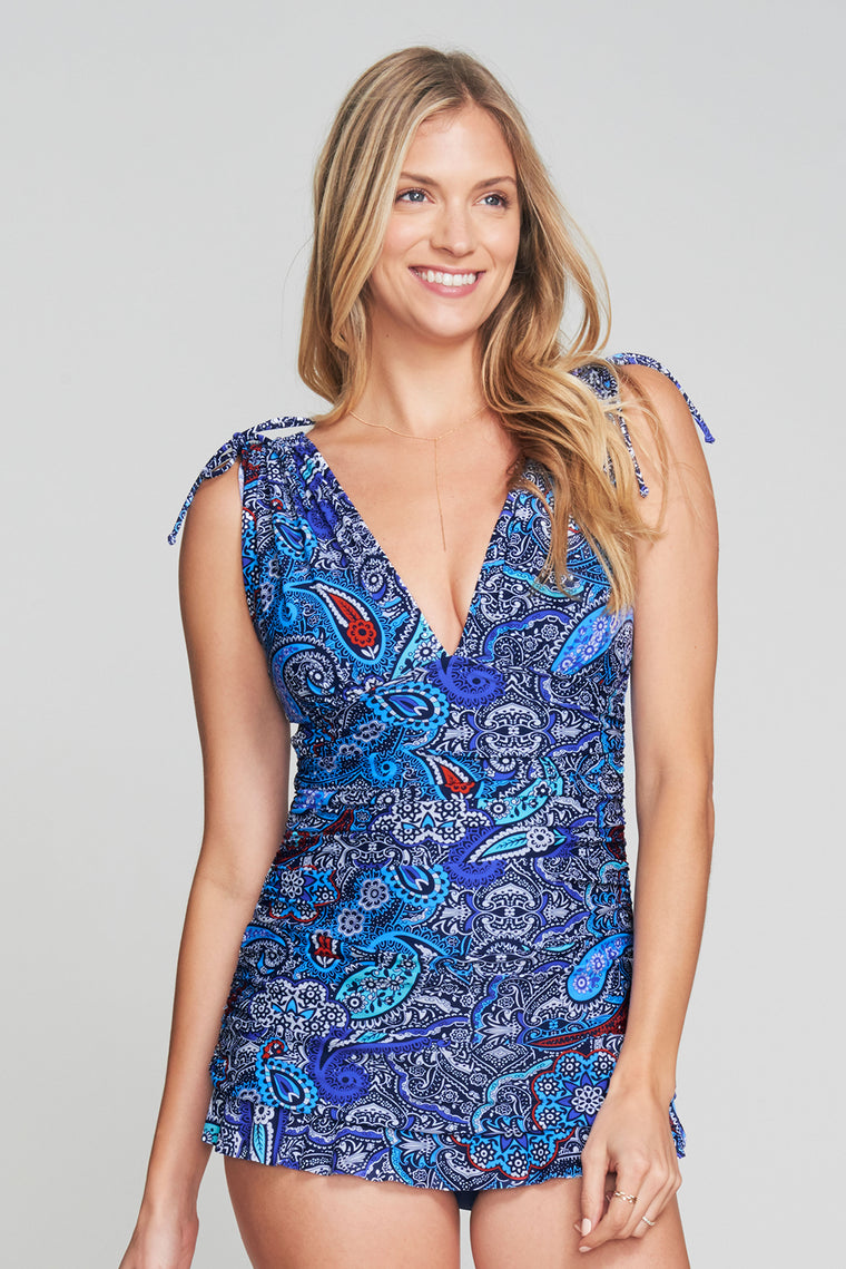 GRECIAN SKATER RUCHED ONE PIECE SWIMDRESS IN FLORENCE PAISLEY BY MAZU SWIM