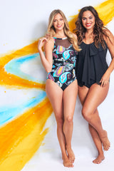 UNDERWIRE MESH HIGH NECKLINE ONE PIECE IN RETRO PAISLEY BY MAZU SWIM