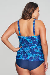 PLUS SIZE TRIPLE TIER MESH RUFFLE TANKINI IN PAINTED PETALS BY MAZU SWIM