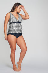 PLUS SIZE TRIPLE TIER MESH RUFFLE TANKINI IN SHIMMERING SNAKE BY MAZU SWIM