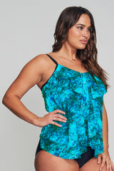 PLUS SIZE DRAPED TIER MESH TANKINI IN AMETHYST CRYSTAL BY MAZU SWIM