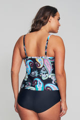 PLUS SIZE DRAPED TIER MESH TANKINI IN RETRO PAISLEY BY MAZU SWIM