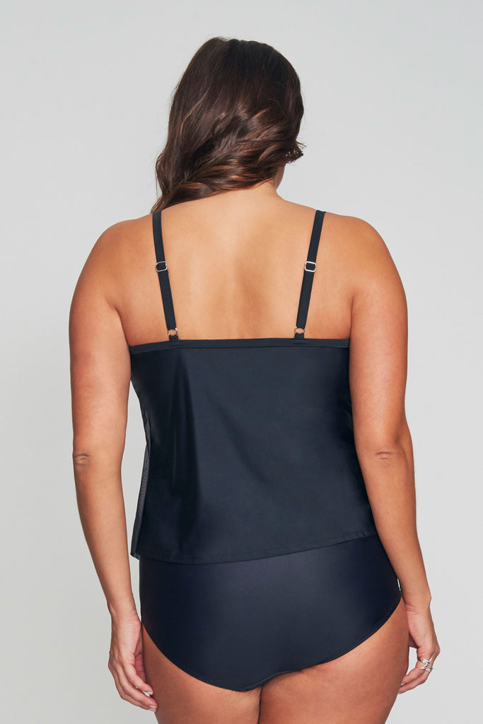 PLUS SIZE DRAPED TIER MESH TANKINI IN SOLID BLACK BY MAZU SWIM