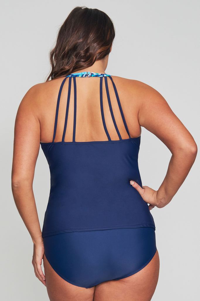 PLUS SIZE MESH KEYHOLE HIGH NECKLINE TANKINI IN SUNBURST BLUE BY MAZU SWIM