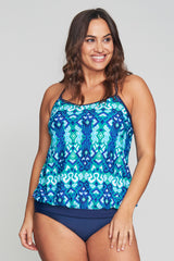PLUS SIZE SPORT DRAPED BLOUSON WITH STRAPPY BACK TANKINI IN IKAT AZTEC BY MAZU SWIM