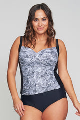 PLUS SIZE TWIST FRONT RUCHED TANKINI IN SHIMMERING SNAKE BY MAZU SWIM