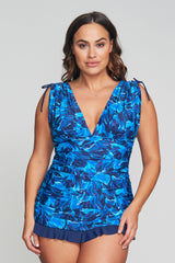 PLUS SIZE GRECIAN SKATER RUCHED ONE PIECE SWIMDRESS IN PAINTED PETALS BY MAZU SWIM