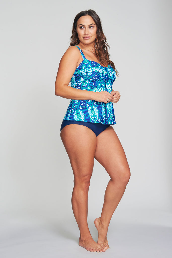 PLUS SIZE DRAPE BANDEAU TANKINI IN IKAT AZTEC BY MAZU SWIM