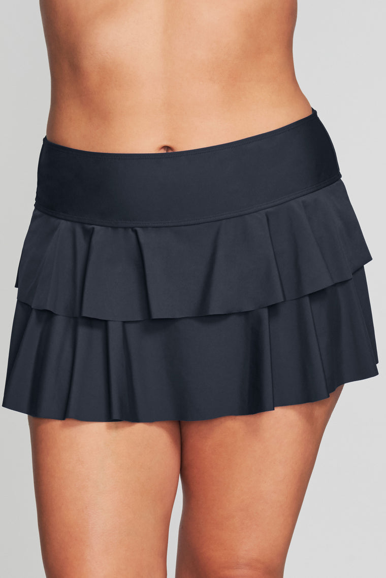 PLUS SIZE DOUBLE RUFFLE SWIM SKIRT IN SOLID BLACK BY MAZU SWIM