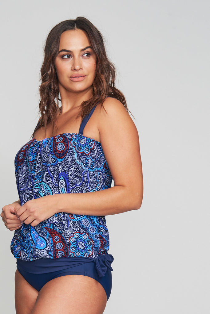 PLUS SIZE DRAPED BLOUSON TANKINI IN FLORENCE PAISLEY BY MAZU SWIM