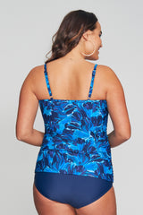 PLUS SIZE UNDERWIRE CONTOUR CUP RUCHED TANKINI IN PAINTED PETALS BY MAZU SWIM