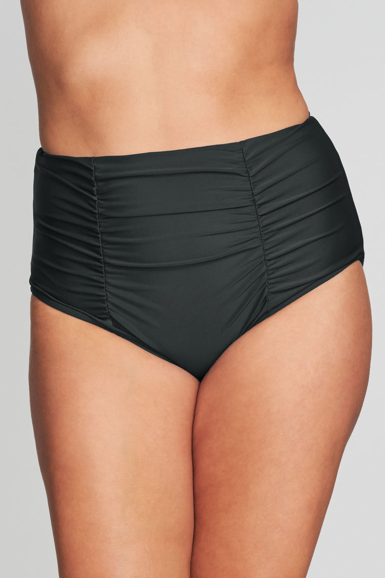 PLUS SIZE RUCHED RETRO HIGH WAIST BRIEF IN SOLID BLACK BY MAZU SWIM