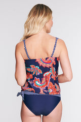 DRAPED BLOUSON TANKINI IN PAISLEY BLOSSOM NAVY BY MAZU SWIM