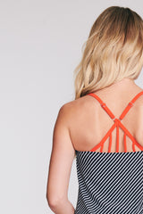 STRAPPY BACK DRAPE BANDEAU TANKINI IN GRAND DIAGONAL BY MAZU SWIM