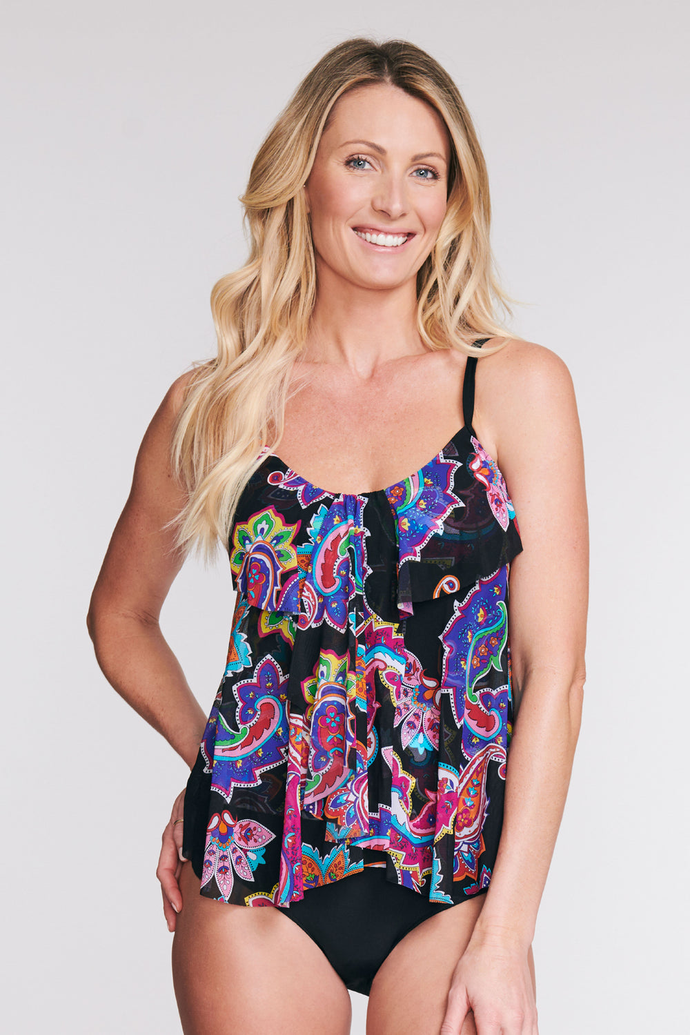 DRAPED TIER MESH TANKINI IN PAISLEY BLOSSOM BLACK BY MAZU SWIM