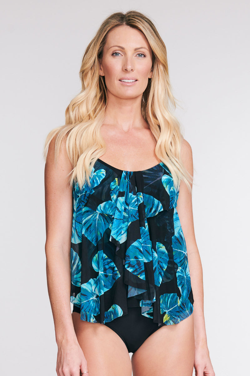 DRAPED TIER MESH TANKINI IN SHADY PALM BY MAZU SWIM