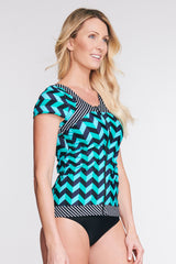 ZIP FRONT RASHGUARD TANKINI WITH BUILT IN BRA IN SCALLOPED CHEVRON BY MAZU SWIM