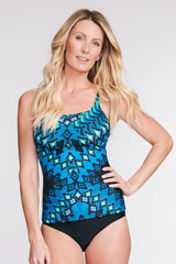 SCOOP NECK TANKINI TOP IN DIAMOND MIRROR BY MAZU SWIM