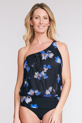 ASYMMETRICAL MESH BLOUSON TANKINI IN TOSSED TULIP BY MAZU SWIM