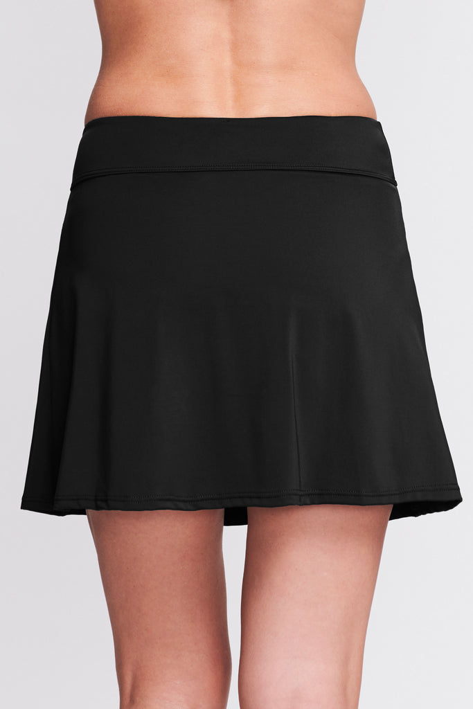PLEATED LONG LENGTH SWIM SKIRT IN SOLID BLACK BY MAZU SWIM