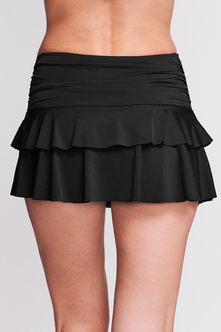 DOUBLE RUFFLE RUCHED SWIM SKIRT IN SOLID BLACK BY MAZU SWIM