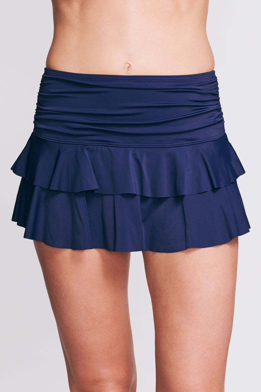 DOUBLE RUFFLE RUCHED SWIM SKIRT IN SOLID NAVY BY MAZU SWIM