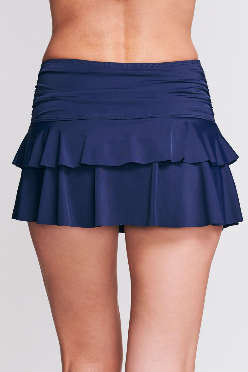 Double Ruffle Ruched Swim Skirt in Solid Navy
