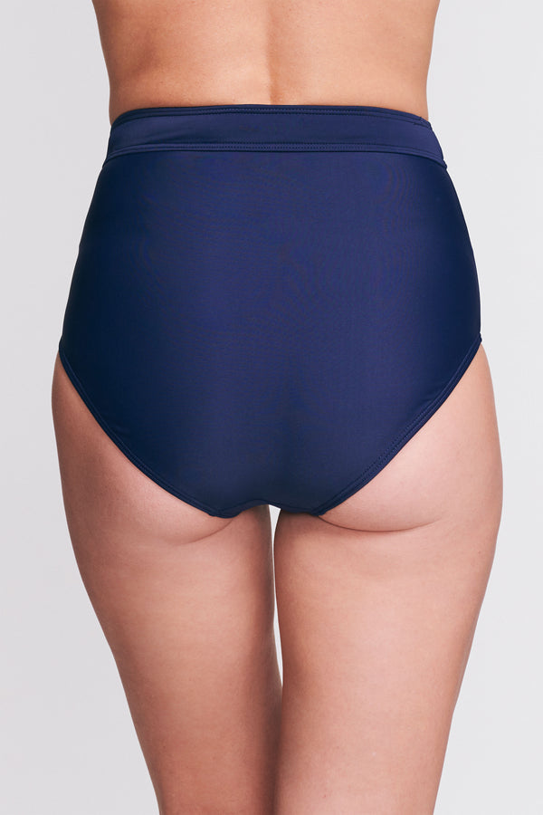 High Waist Brief in Solid Navy