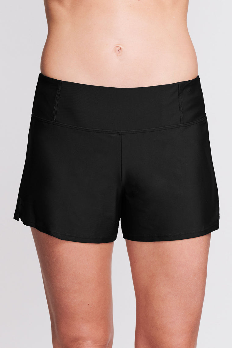 SWIM SHORT WITH BUILT IN BRIEF IN SOLID BLACK BY MAZU SWIM