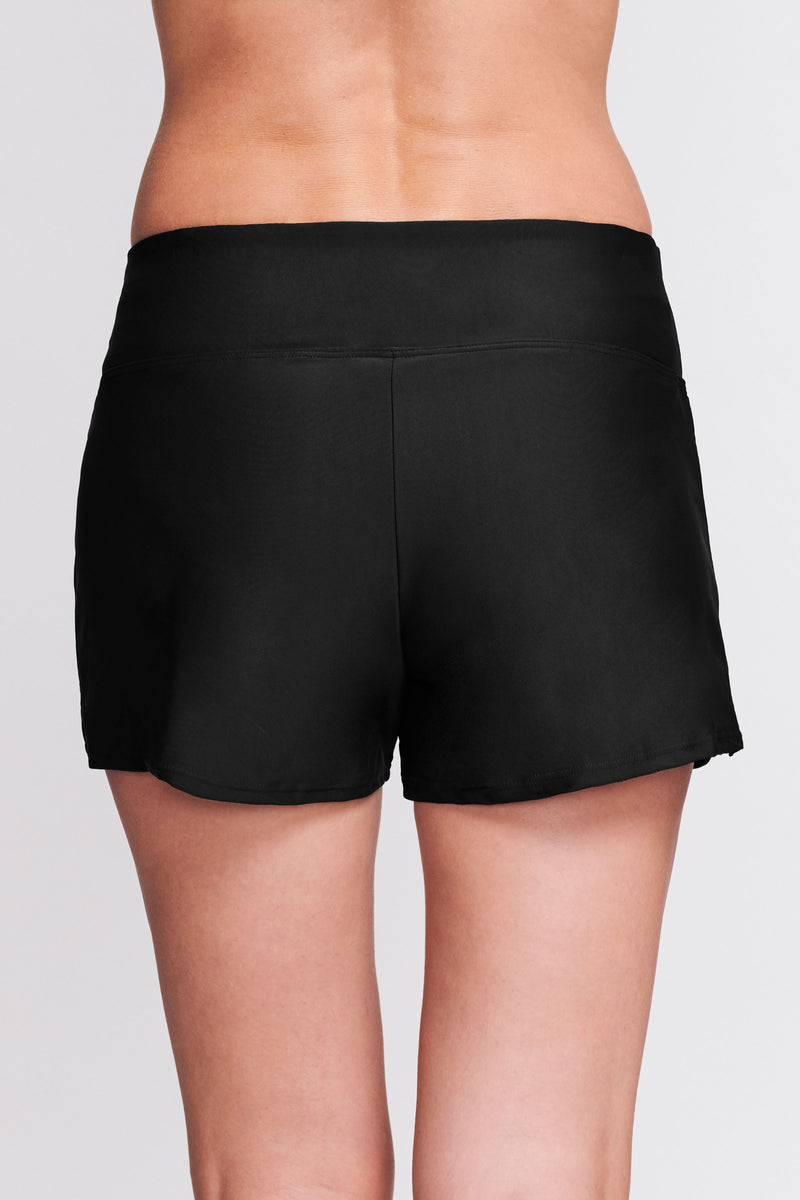 Swim Short with Built in Brief in Solid Black