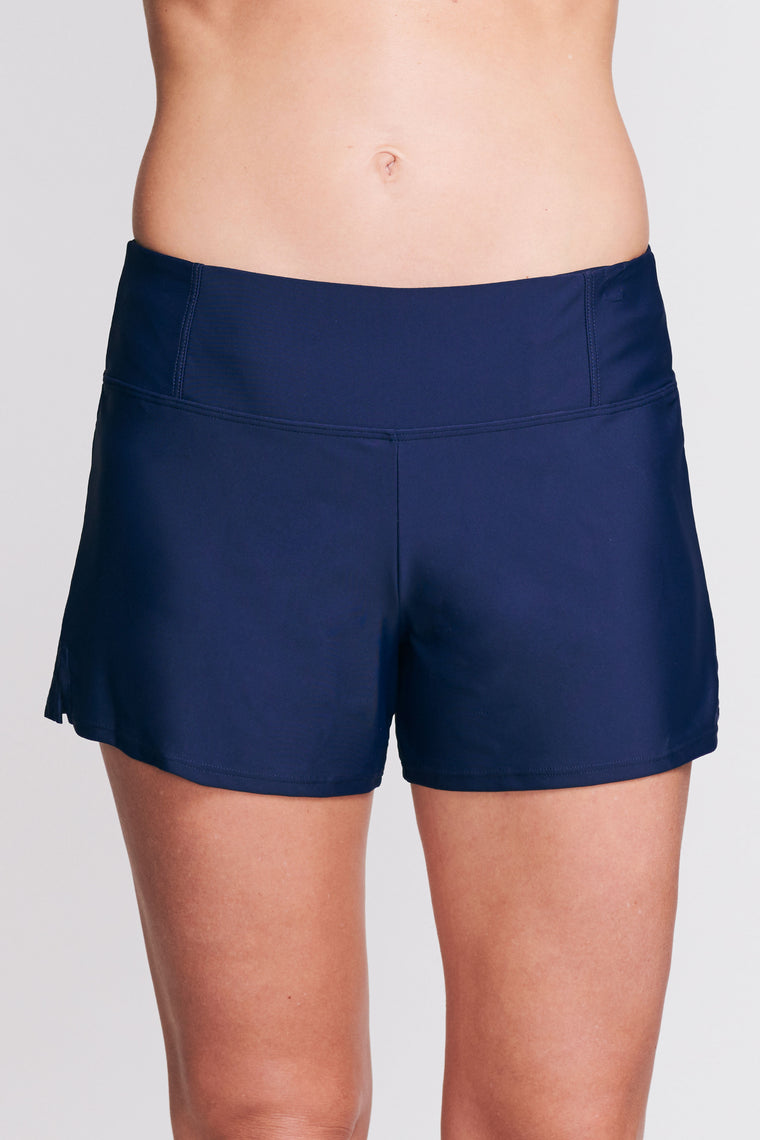 SWIM SHORT WITH BUILT IN BRIEF IN SOLID NAVY BY MAZU SWIM