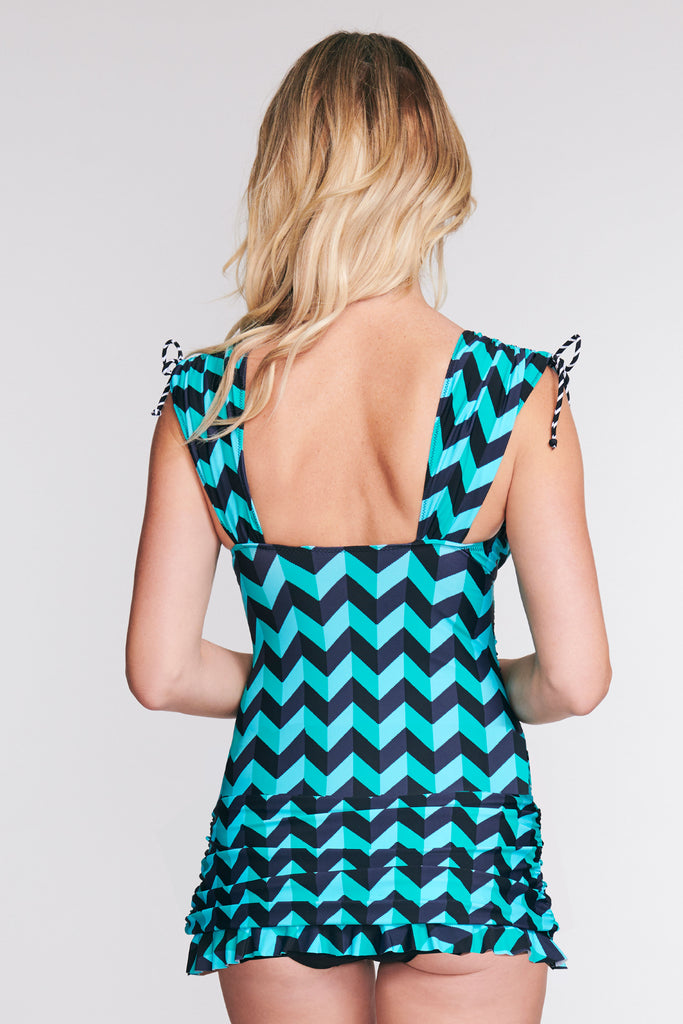 GRECIAN SKATER RUCHED ONE PIECE SWIMDRESS IN SCALLOPED CHEVRON BY MAZU SWIM