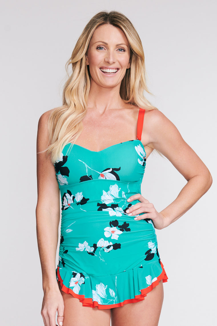 SHIRRED ONE PIECE SKATER SWIMDRESS IN TOSSED TULIP BY MAZU SWIM