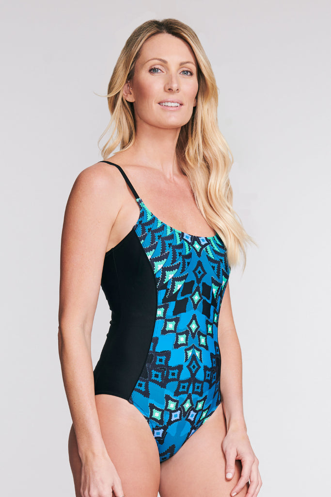 SCOOP NECK ONE PIECE SWIMSUIT IN DIAMOND MIRROR BY MAZU SWIM
