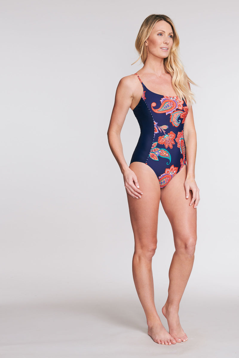 SCOOP NECK ONE PIECE SWIMSUIT IN PAISLEY BLOSSOM NAVY BY MAZU SWIM