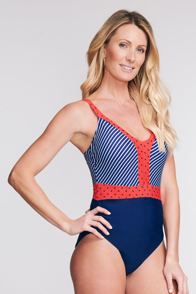 BELTED ONE PIECE SWIMSUIT IN DOT TO DOT BY MAZU SWIM