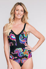 BELTED ONE PIECE SWIMSUIT IN PAISLEY BLOSSOM BY MAZU SWIM